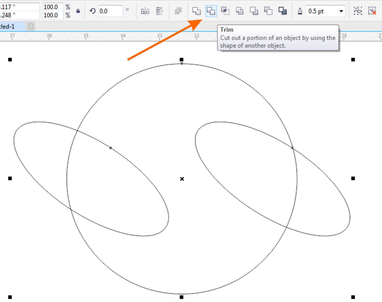 Susun lingakaran yang sudah kita buat menjadi saling sejajar dan saling menumpuk seperti gambar di bawah ini Kemudian seleksi semua lingkaran dan klik Trim