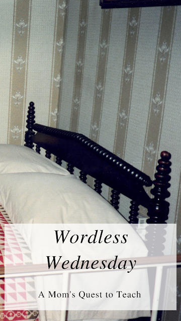Text: Wordless Wednesday; A Mom's Quest to Teach; bed where Lincoln died