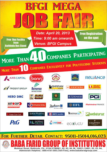 Job fair in Baba Farid Group of Institutions, Bathinda 40+ Companies On 20th April 2013
