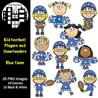 Kid Football and Cheerleaders Clipart