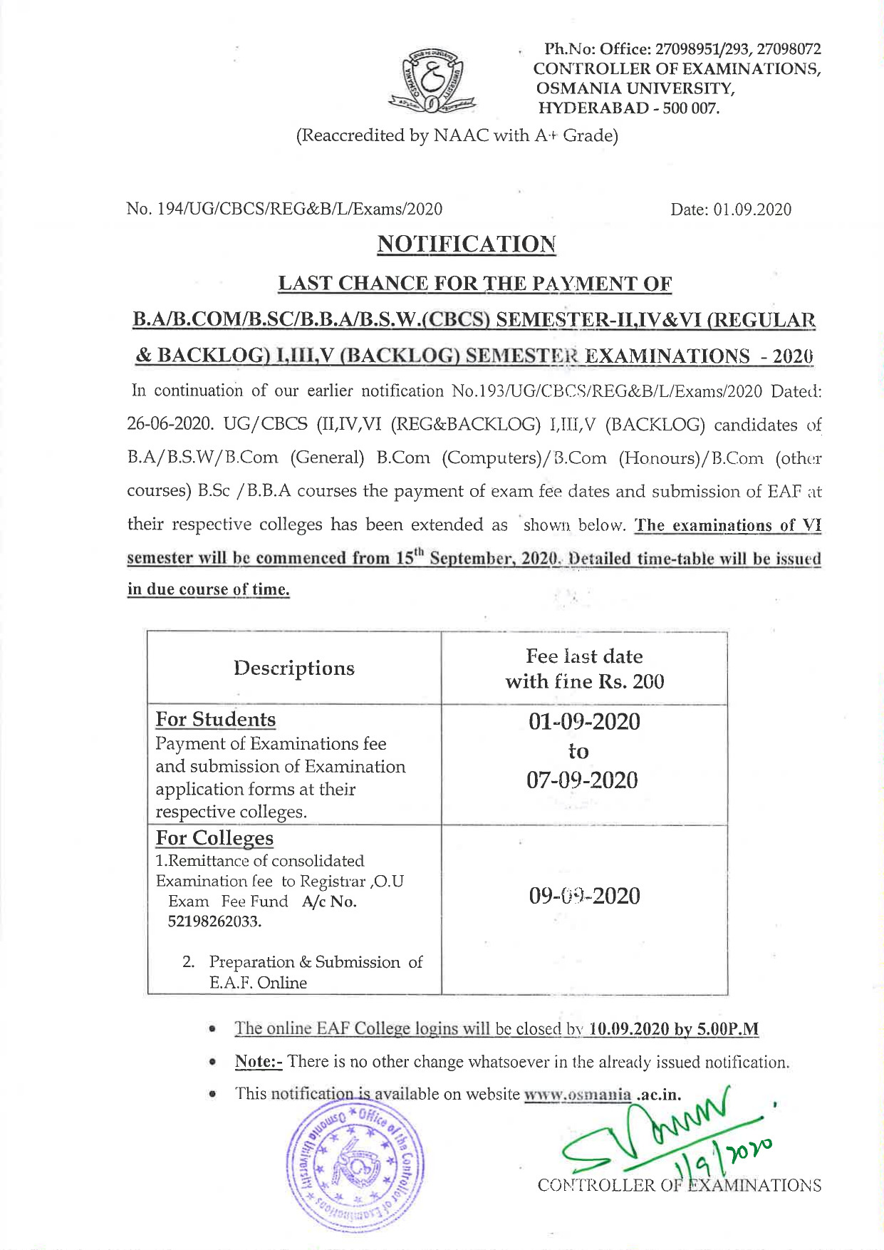 Osmania University UG (CBCS) Regular & Backlog Sep 2020 Exam Fee Notification