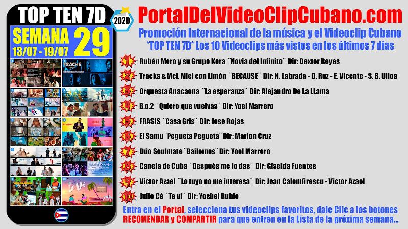 Artistas ganadores del * TOP TEN 7D * con los 10 Videoclips más vistos en la semana 29 (13/07 a 19/07 de 2020) en el Portal Del Vídeo Clip Cubano