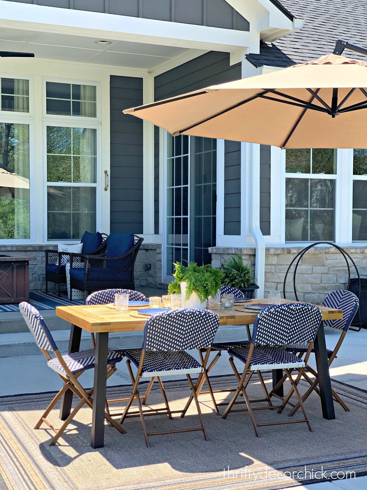 Blue and white decor patio furniture and decor