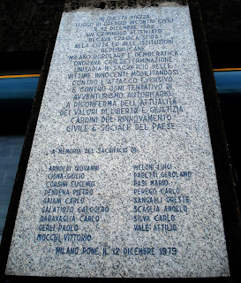 The plaque outside the bank commemorating the victims of the bomb
