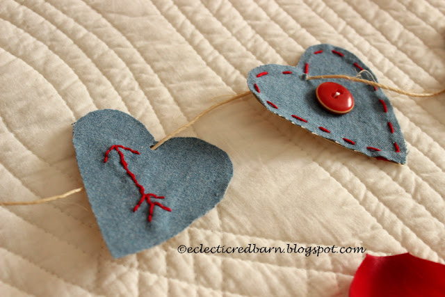 Eclectic Red Barn: Jean shirt Valentine hearts with arrows and buttons