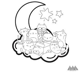 דף צביעה חתולים על הירח