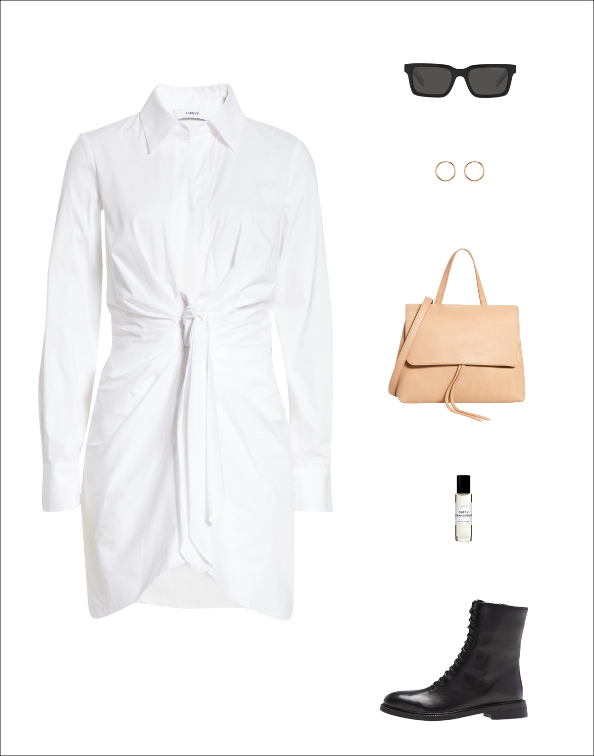 How to Wear Shirtdress for Spring 2021 —Outfit idea with white tie-front shirt dress, black rectangular sunglasses, gold hoop earrings, a neutral minimalist Mansur Gavriel Mini Lady bag, and black lace-up boots