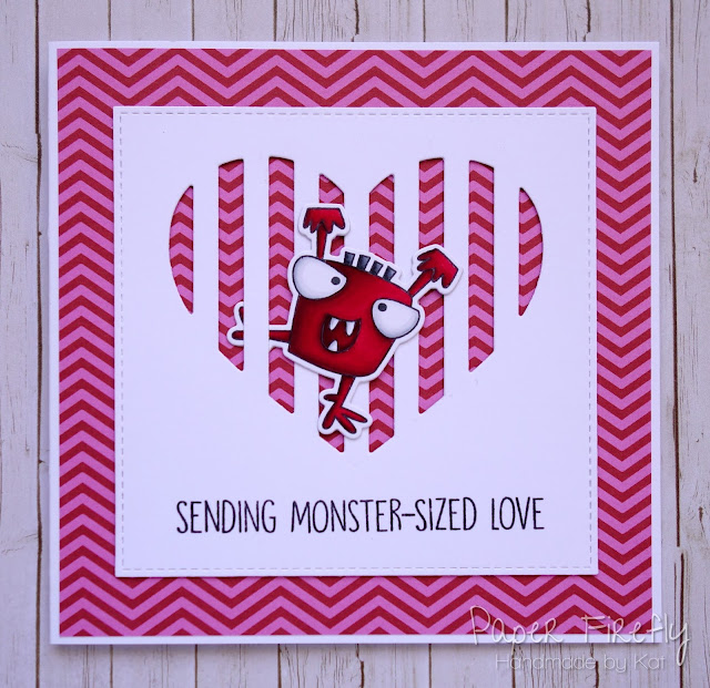 Punny monster Valentine's Day card (using Monster Sized by MFT)