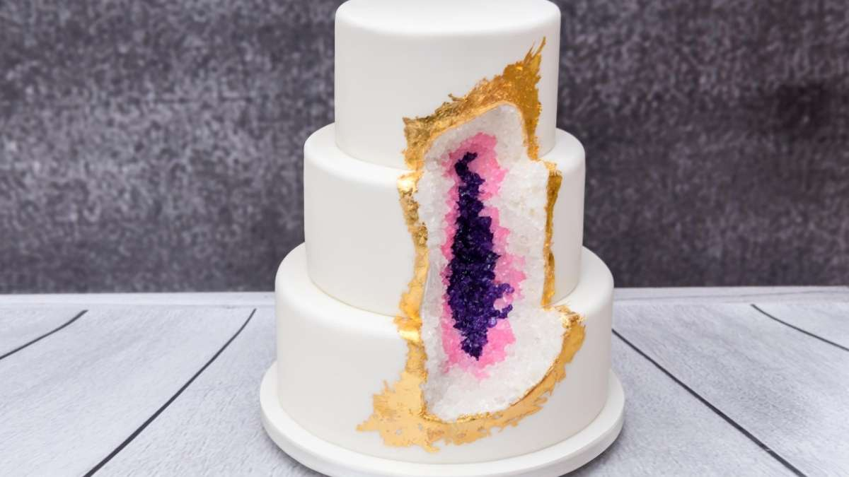 Geode wedding cake for 2020