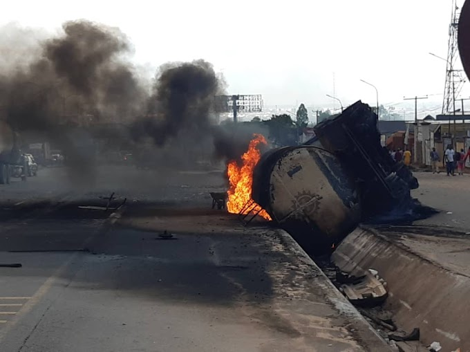 Chaos As Fully Loaded Tanker Explodes In Front Of Ogun Governor's Office