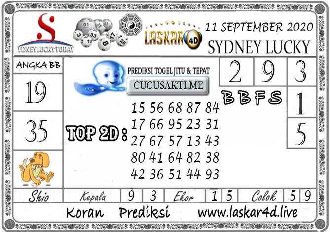 Prediksi Sydney Lucky Today LASKAR4D 11 SEPTEMBER 2020