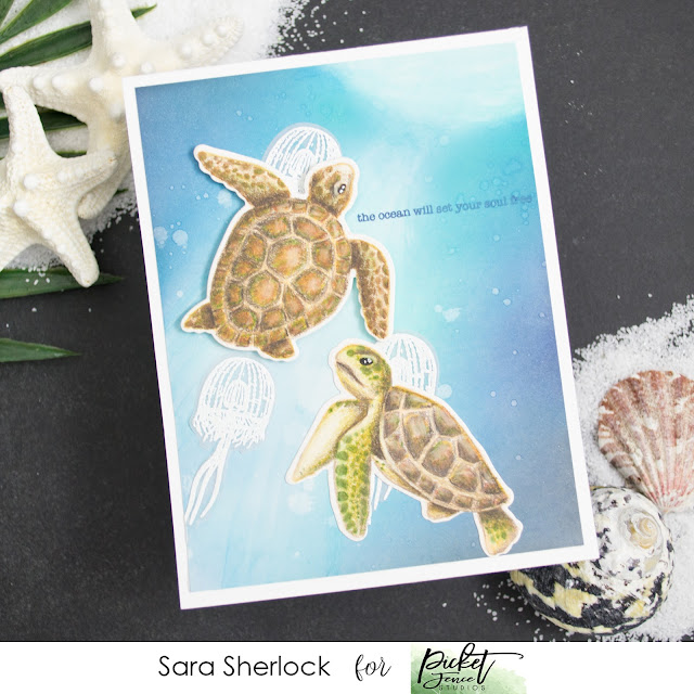 Swim in the Sea, Picket Fence Studios, Ink Blending, Ocean card, Sea Turtles, Jelly fish, Colored pencil coloring, Prismacolor pencils, coloring, heat embossing, ink blending, Life  Changing Blending Brushes