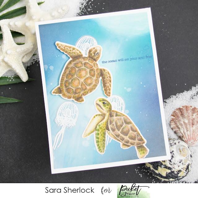 Swim in the Sea, Picket Fence Studios, Ink Blending, Ocean card, Sea Turtles, Jelly fish, Colored pencil coloring, Prismacolor pencils, coloring, heat embossing, ink blending, Life  Changing Blending Brushes