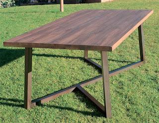 mesa madera forja industrial