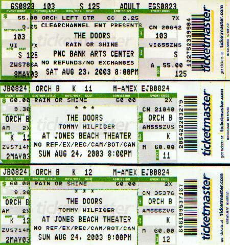 Our concert tickets for The Doors August 23, 2003 at PNC