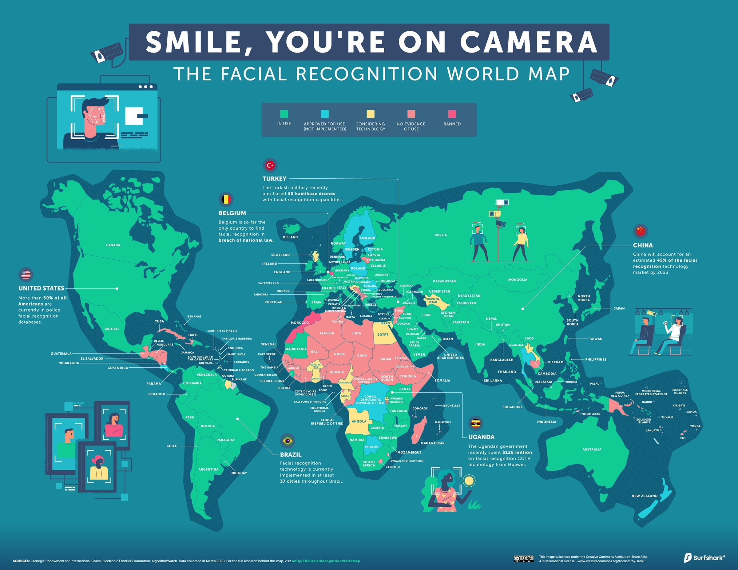 Mapped: The State of Global Facial Recognition #infographic