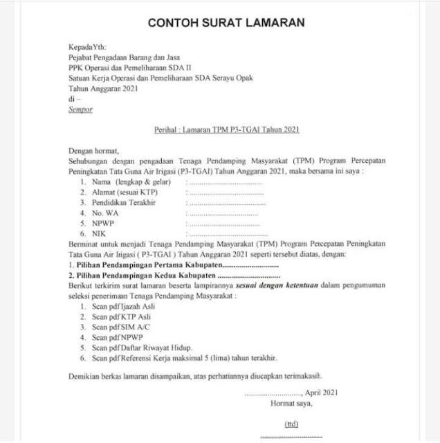 Format Surat Lamaran (via: Instagram loker_tekniksipil)