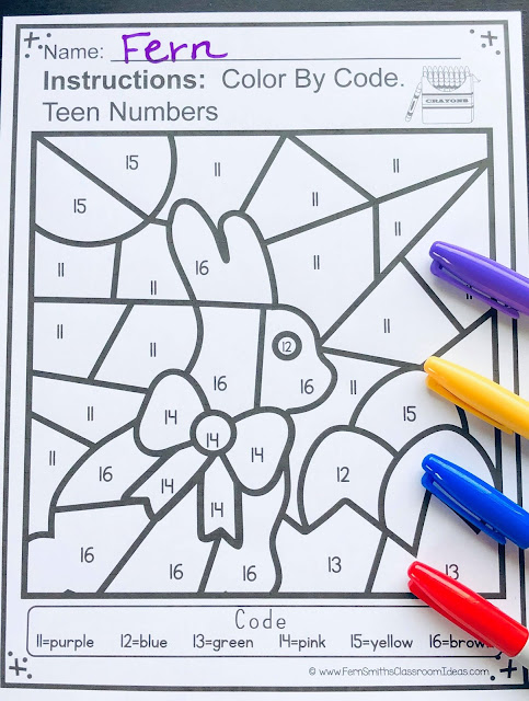 Your students will adore these Easter Color By Numbers worksheets while learning and reviewing important 1 - 9 number and teen number skills at the same time! You will love the no prep, print and go ease of these printables. As always, answer keys are included. TEN Color By Code Easter Math Know Your Numbers and Know Your Teen Numbers, a Color By Numbers Printables for some Easter and Spring Fun in your Classroom! Ten adorable matching Easter Color By Number worksheets and ten ANSWER KEYS for Easter. Perfect for your Kindergarten class during Spring for your countdown to the end of the year! Terrific for review and rti small groups.