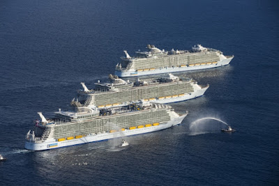 Royal Caribbean's Allure, Oasis and Harmony of the Seas Rendezvous Off of Miami