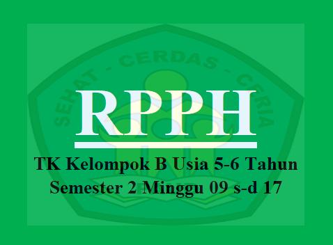 RPPH TK B Usia 5-6 Tahun Semester 2 Minggu 09 s-d 17