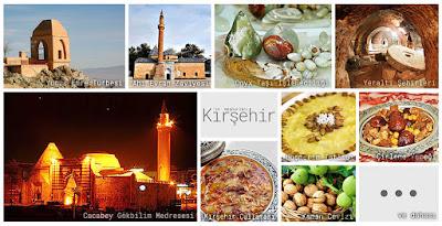 Kırşehir'in meşhur şeylerini gösteren resimlerden oluşan kolaj