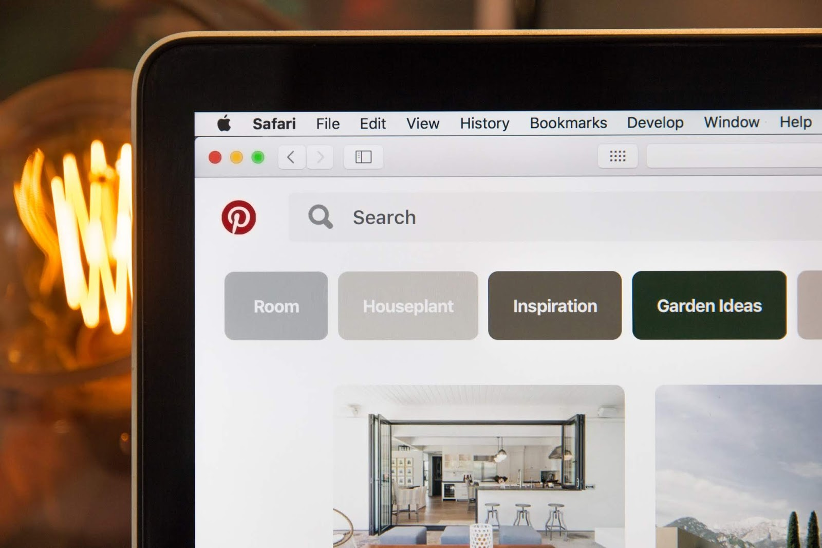 pinterest interface close up