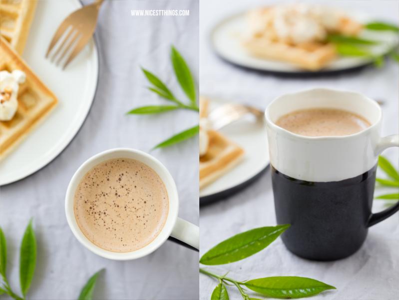 Cappuccino in Esrum Tasse von Broste Copenhagen und gesunde Waffeln