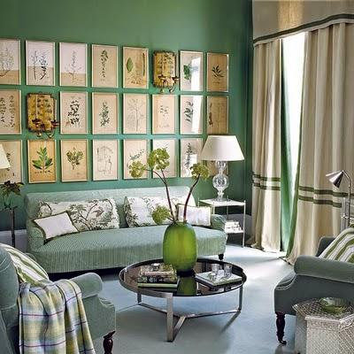 Dekorasi Berupa Gambar Tanaman Yang Simpel Clic Dan Disusun Rapi Sangat Serasi Dengan Warna Hijau Dalam Ruangan Ini
