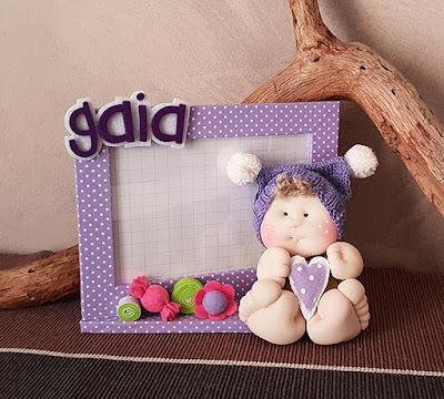 portafoto bambolotto personalizzato lilla pois