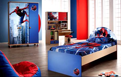 Contoh Gambar Plafon Gypsum Kamar Tidur  15 desain kamar tidur anak laki tema spiderman plafon