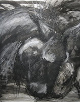 Mixed media painting, wild horses
