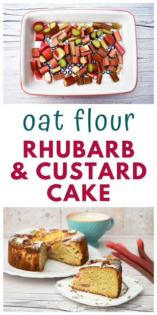 Oat Flour Rhubarb and Custard Cake. A fruity cake which is light and fluffy. Good served warm with custard for a family pudding. A tasty fruity dessert. #rhubarb #custard #oatflour #oatflourcake #fruitcake #rhubarbcake #custardcake