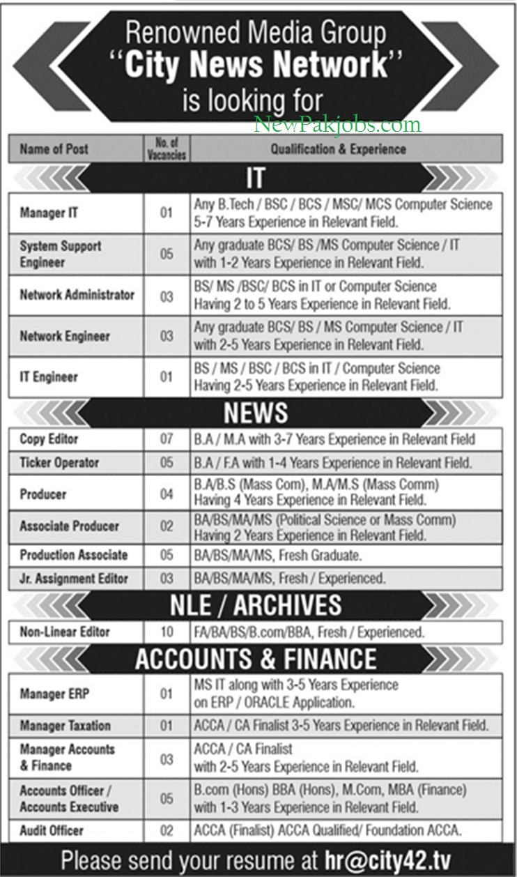 Jobs in City 42 News Network