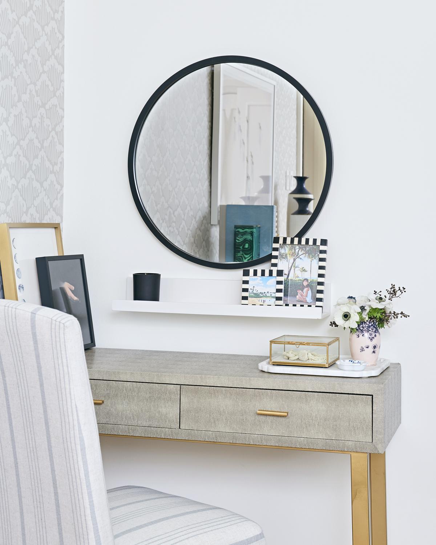 calm neutral master bedroom, Rambling Renovators, round mirror, Bellacor shagreen vanity