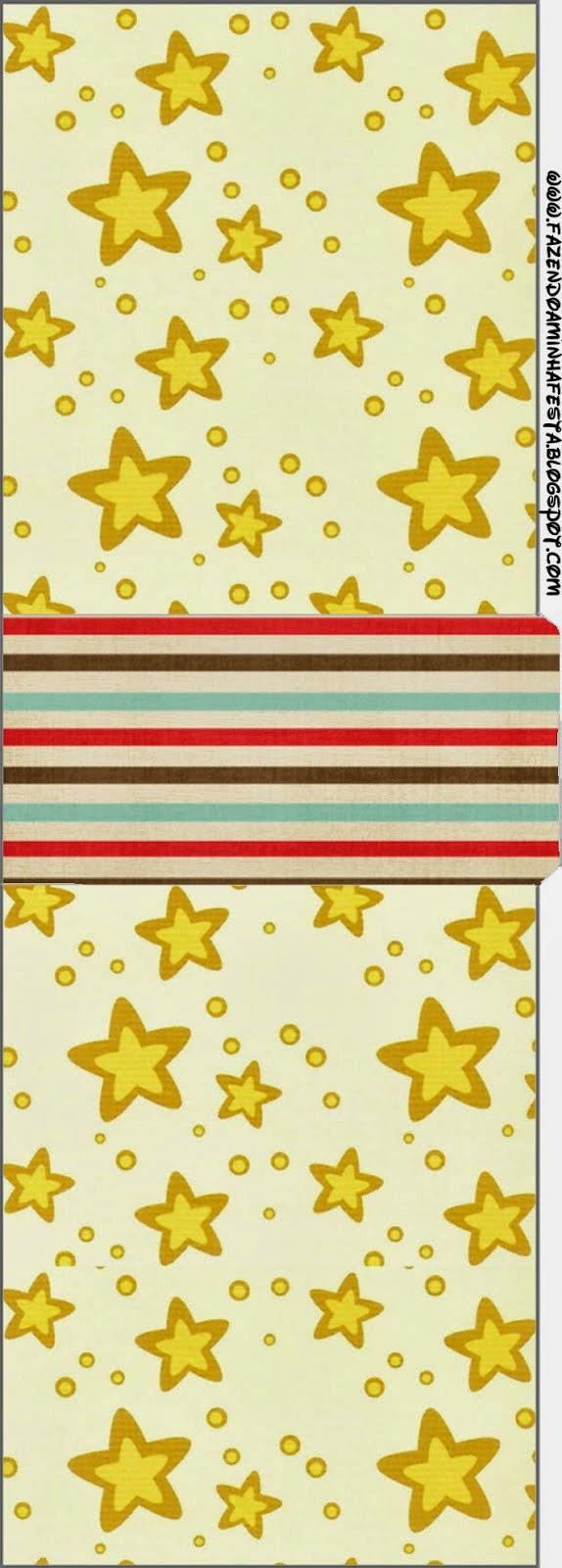 Etiqueta Tic Tac para Imprimir Gratis de Estrellas Doradas y Rayas de Colores.
