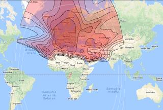 Footprint Satellite Eutelsat 16A/E16A 16.0°E KU Band