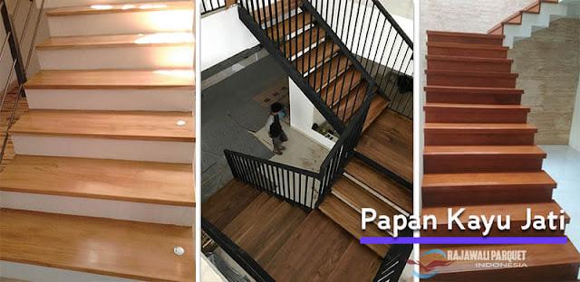 Conton pemasangan kayu untuk area tangga dari Jati
