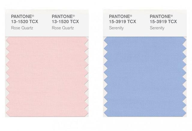 Serenity e rosa quarzo, pantone 2016