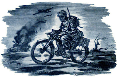 Illustration of a soldier riding a motorcycle across a battlefield.