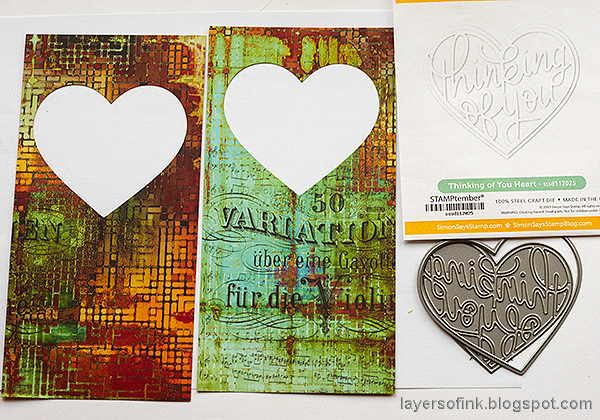 Layers of ink - Heart Shaker Cards Tutorial by Anna-Karin Evaldsson. Die cut the heart windows.