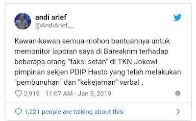 Hasto cs Disebut Faksi Setan, TKN Jokowi Pertimbangkan Polisikan Andi Arief