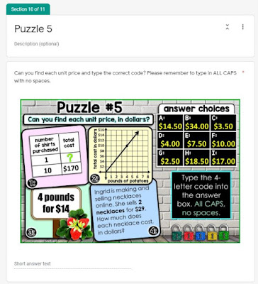 Unit rates digital math escape room that covers unit rates from graphs, tables, prices and word problems.