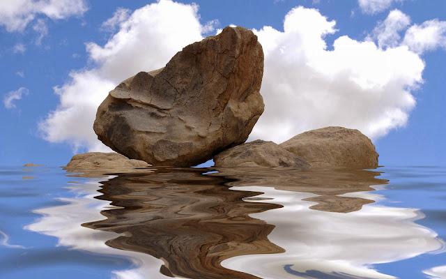 foto stenen water reflectie