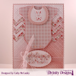 Baby Girl Paper Pad, Cross Stitch Embossing Folder, Custom Dies: Baby Blessings, Chevron Background, Pierced Rectangles, Scalloped Rectangles, Double Stitched Ovals, Scalloped Ovals
