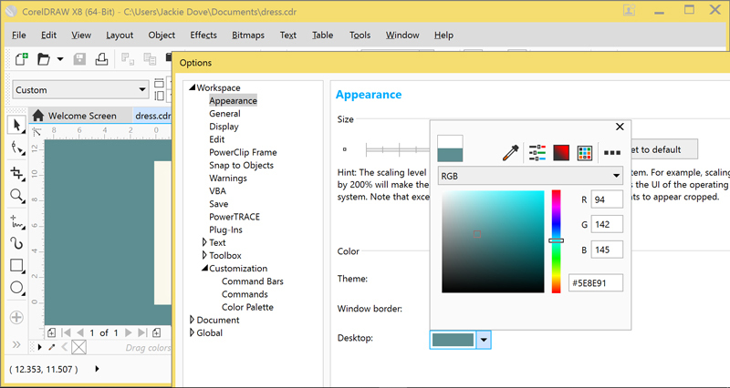 CorelDRAW X8 - Costum Interface