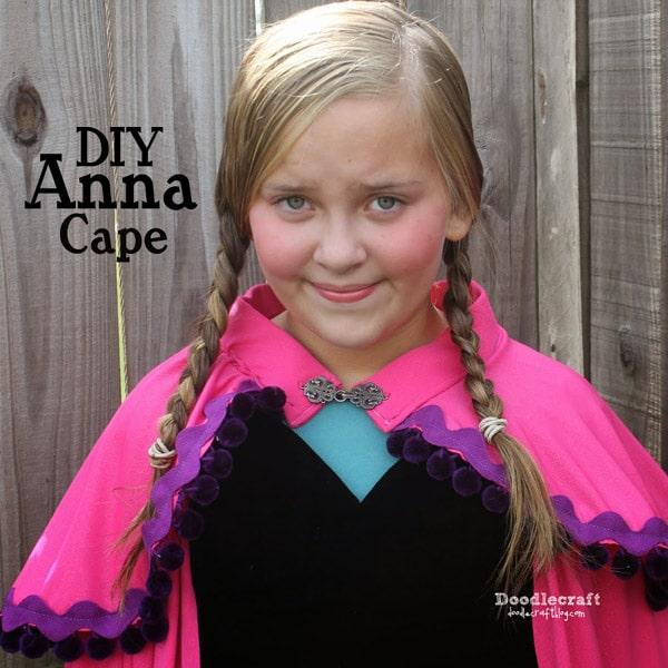 Make a Princess Anna from Frozen cape with pom pom trim and ricrac.