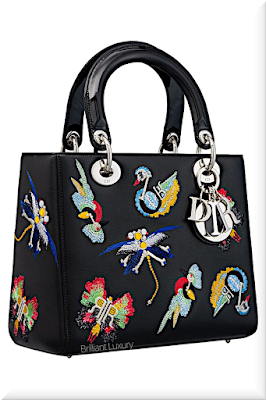 ♦Dior Lady Dior black animal embroidered lambskin top handle bag with silver Dior charms #dior #bags #ladydior #brilliantluxury