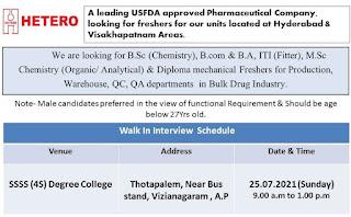 Hetero Drugs Pharma Company Campus Placement Drive For Freshers ITI, Diploma, B.A, B.Sc, B.com, M.Sc, B. Pharm Candidates