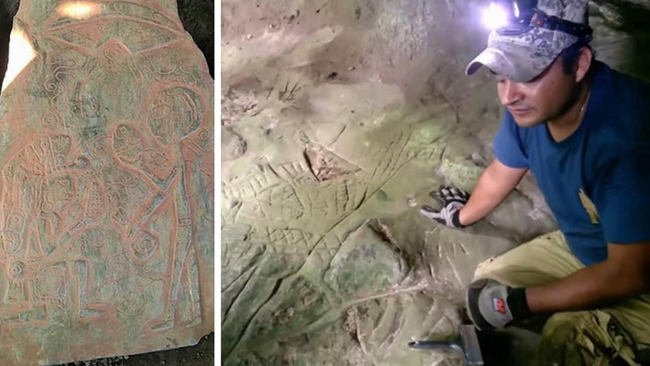 Encuentran piedras con figuras extraterrestres y oro en una cueva en Veracruz, México