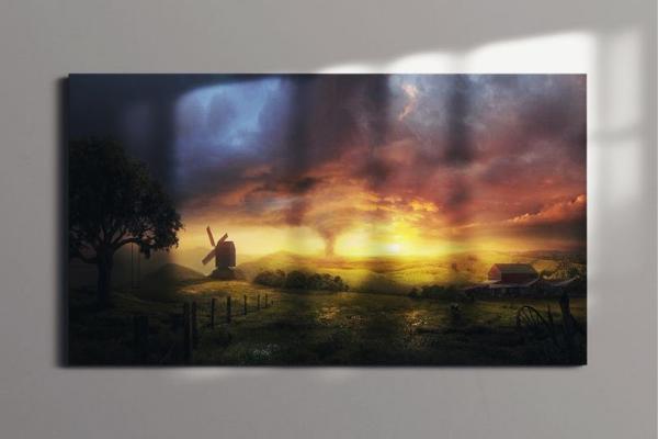 art print of a windmill and tornado scene